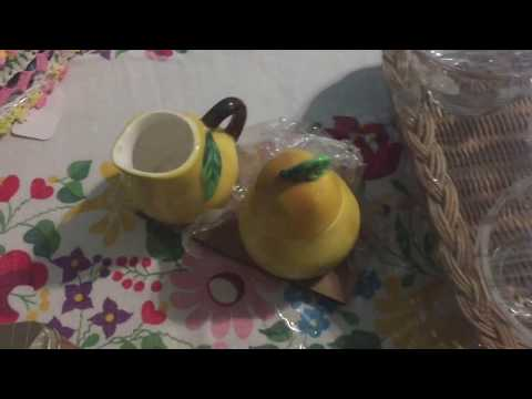 Vintage Thrift Haul #27 Chalet Snack Set, Gooseberry Sherbet Bowls, Crocheted Napkin Holder & More