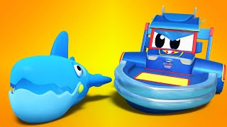 Truck cartoons for kids - SUPER BOAT scares SHARKS! - Super Truck in Car City !