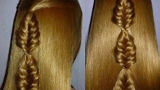 Коса Рыбий хвост.Плетение кос.Причёска для средних/длинных волос, причёски девочкам в школу