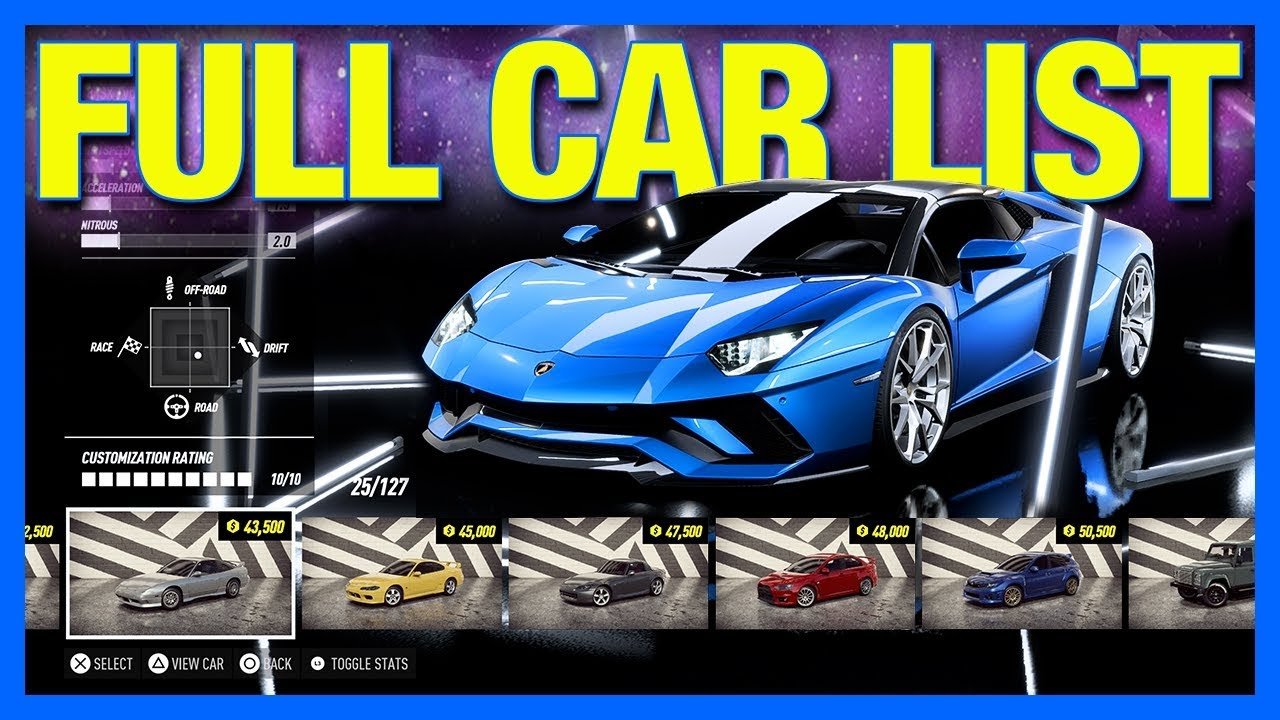 Need For Speed Heat Full Car List Youtube