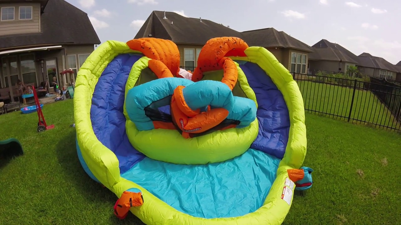 My First Water Slide Bounce House And Dual Water Slides Youtube