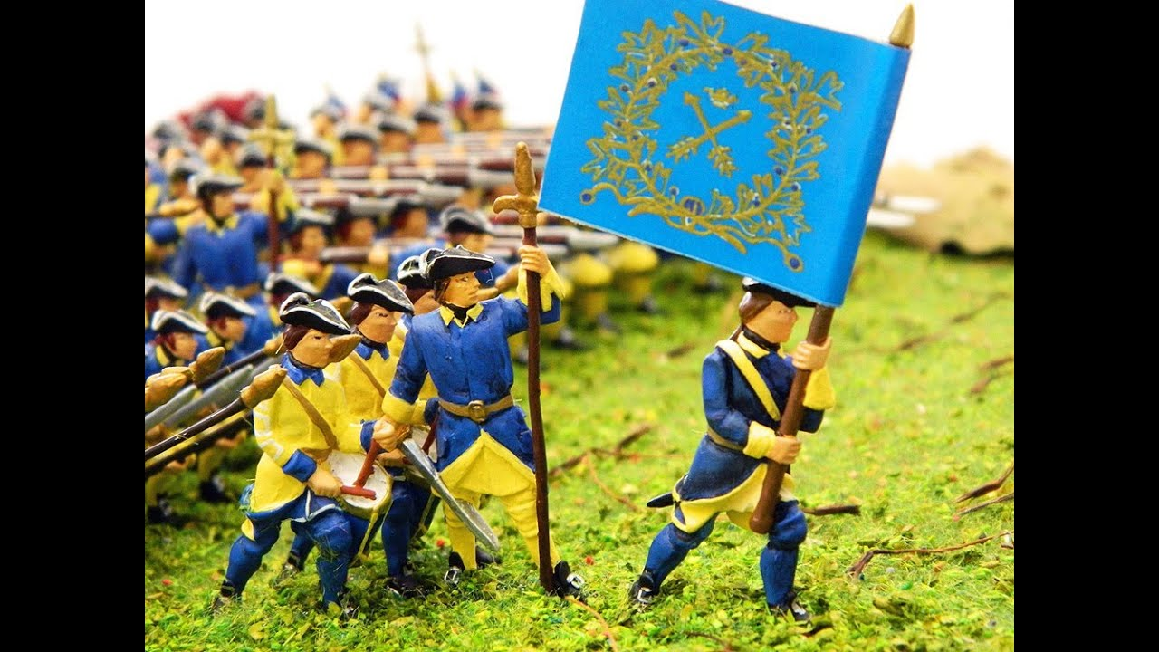 Karoliner Swedish Soldiers Battle formations diorama by Prince August Toy Soldier Factory.