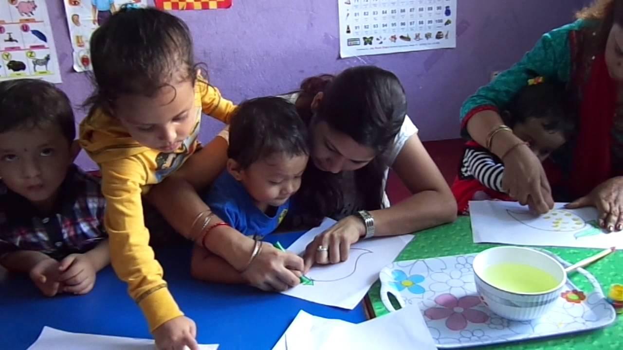 Happy kids montessori school children in painting class for Kids painting class