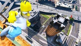Homer Simpson in GTA 5 Crazy Jumps-Falls-Ragdolls [Euphoria physics | Funny Moments]