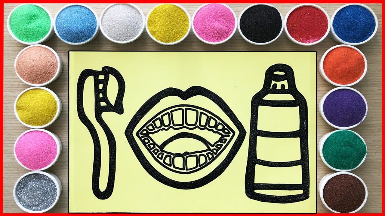 TÔ MÀU TRANH CÁT BÀN CHẢI VÀ KEM ĐÁNH RĂNG - Sand painting brush teeth (Chim Xinh)