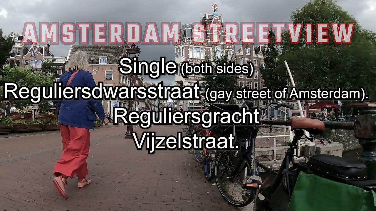 Streets of Amsterdam. Random ride with street names.  Singel, Reguliersdwarsstraat, Vijzelstraat.