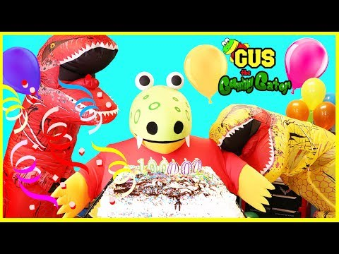 Thumbnail: GIANT GUS 100,000 Subscribers Celebration Party with Giant Life Size Dinosaurs IRl