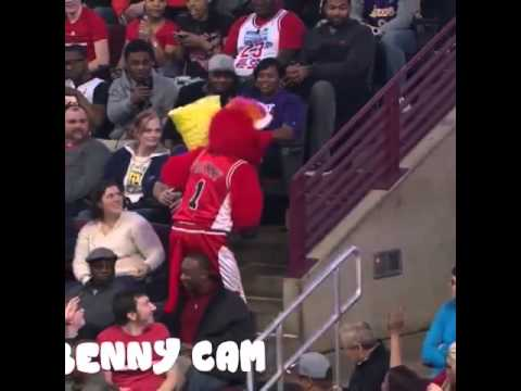 Benny The Bull attacking Lakers fans