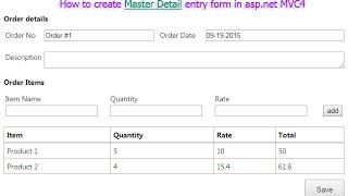 Comment créer Master Détail formulaire d'inscription en asp.net MVC4