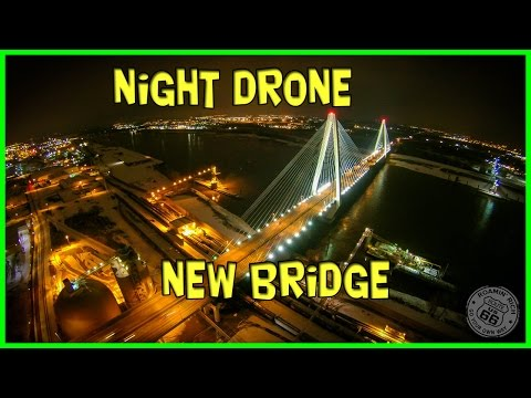 Fly over the Stan Musial Bridge in St. Louis AT NIGHT! - With Yuneec Q500 Typhoon