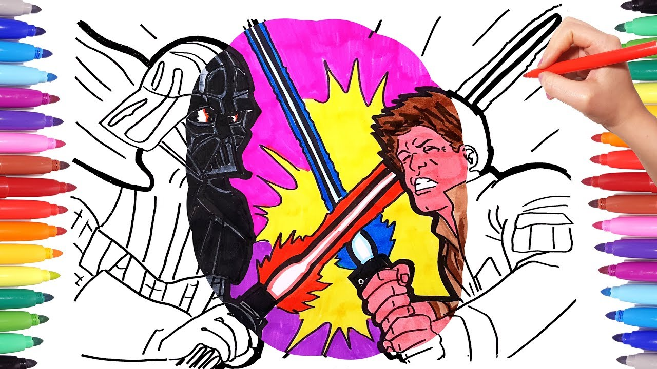 Star Wars Coloring Pages Colouring Darth Vader And Luke