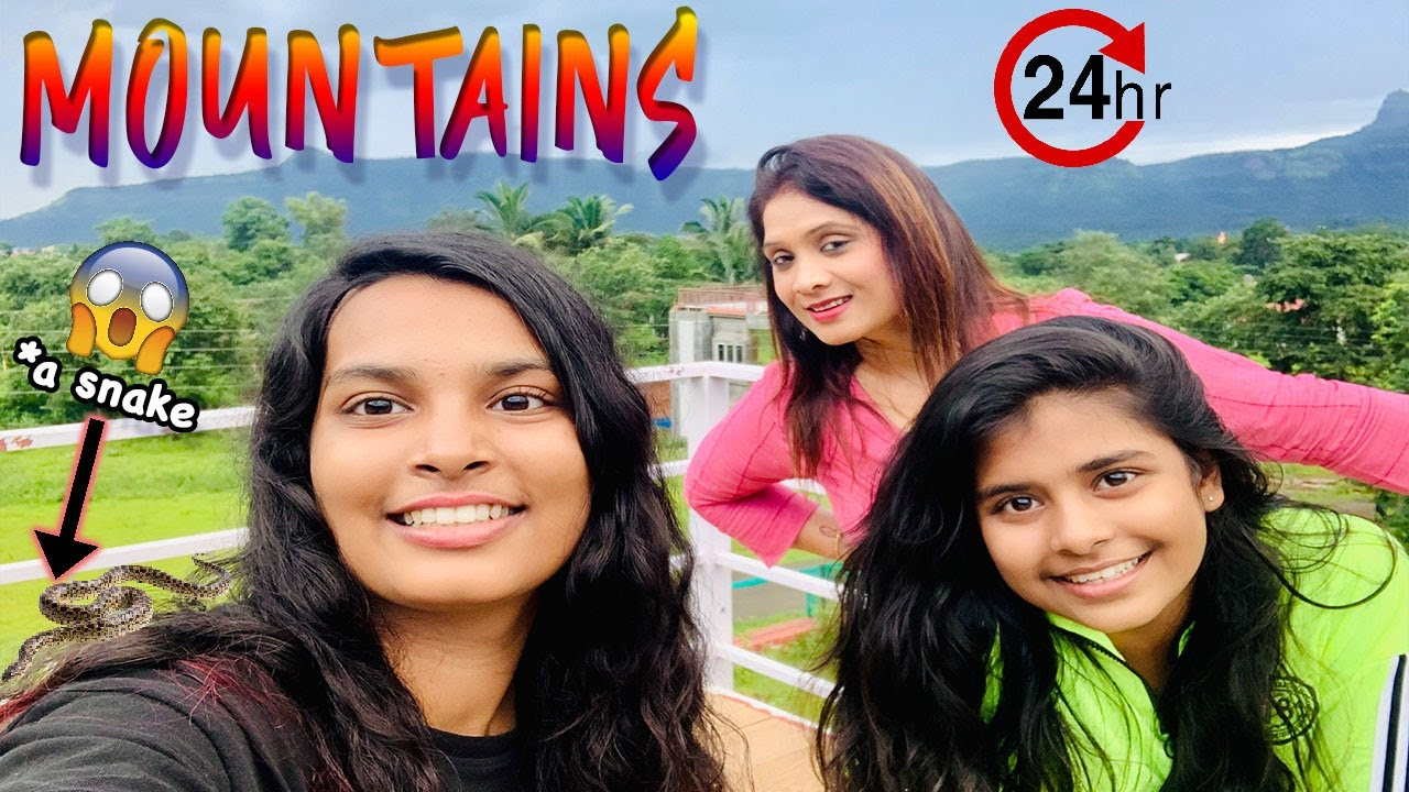 LIVING IN MOUNTAIN FOR 24 HOUR Challenge l Ayu And Anu Twin Sisters