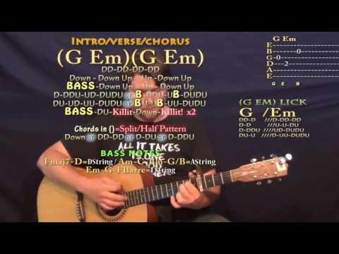 CRZY (Kehlani) Guitar Lesson Chord Chart - Capo 4th - G Em
