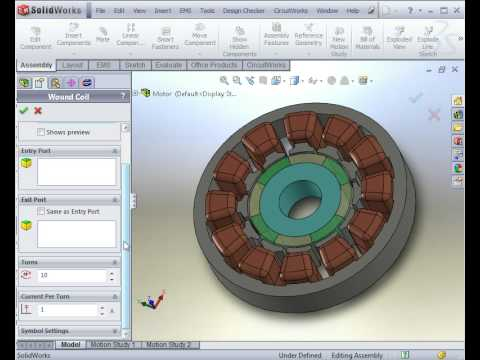 Magnetostatic and thermal analyses of a dc motor using for Electric motor design software