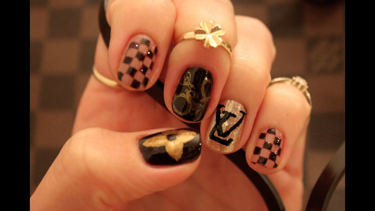 Louis Vuiton inspired nails - YouTube