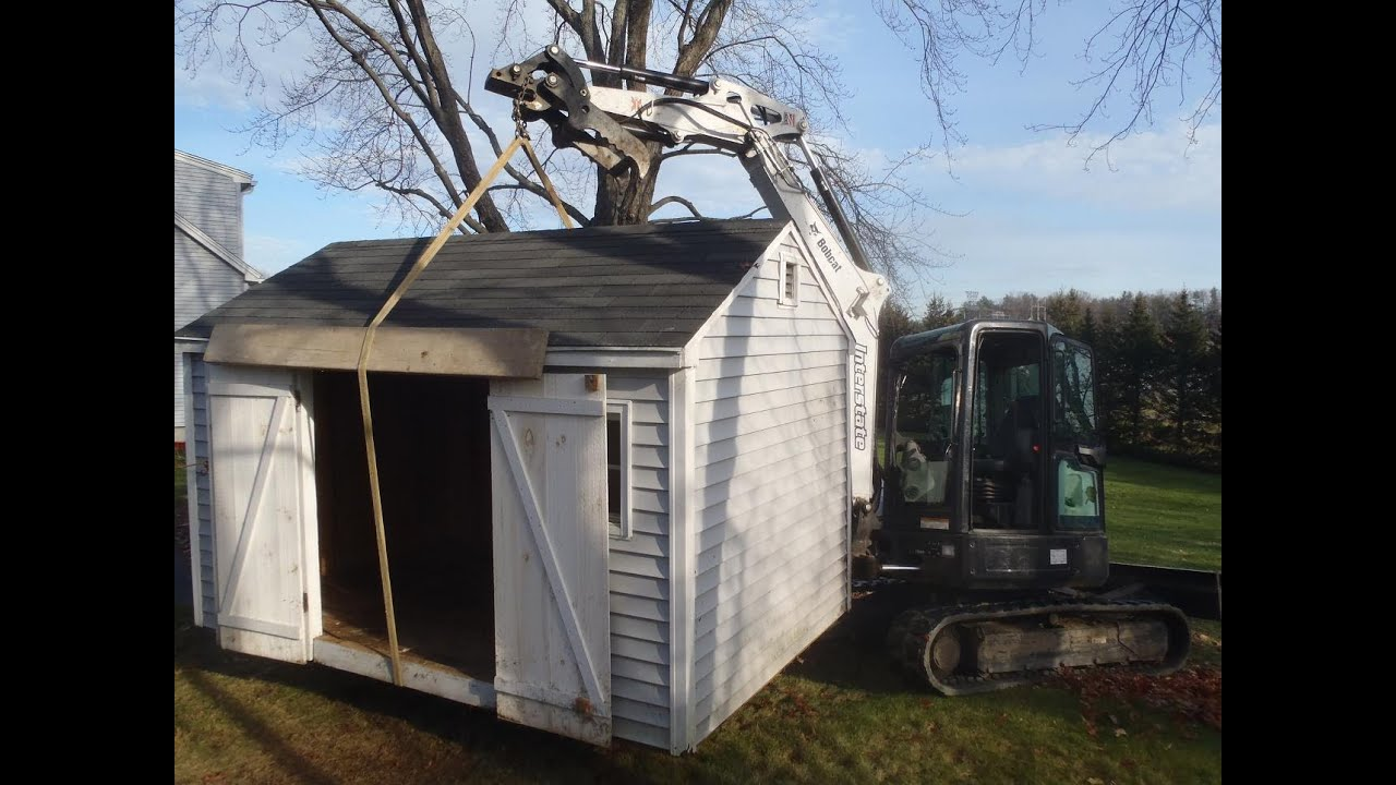Moving Shed With Bobcat Youtube