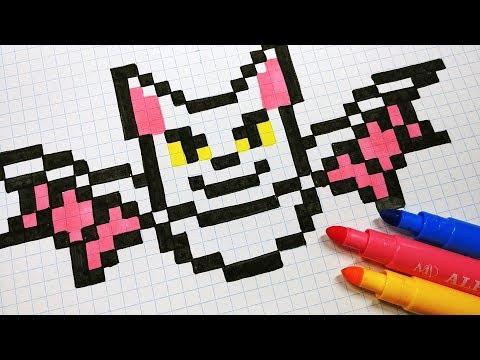 Halloween Pixel Art How To Draw A Bat Pixelart Youtube