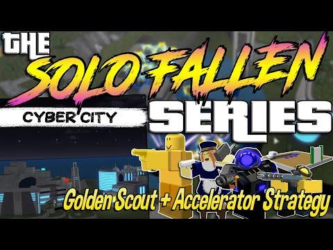 SOLO FALLEN TRIUMPH – Cyber City (Golden Scout + Accelerator) – Tower Defense Simulator – ROBLOX
