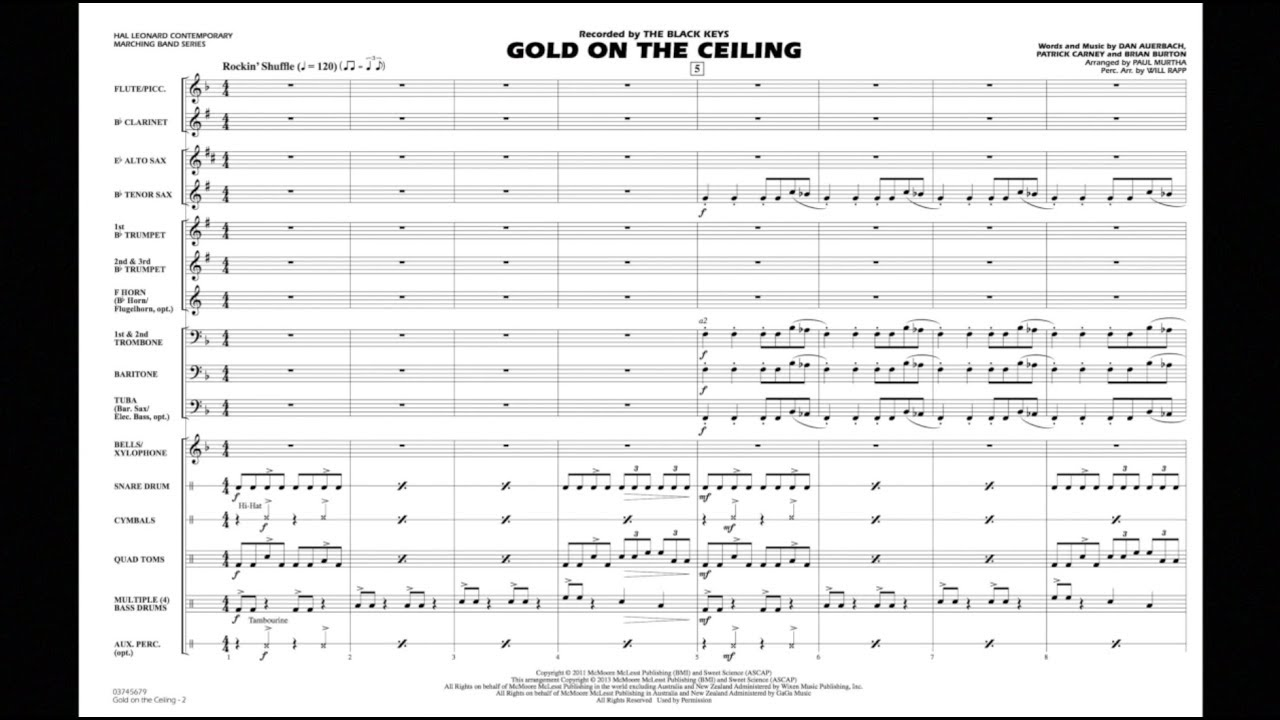 Uncategorized Gold On The Ceiling Sheet Music gold on the ceiling arranged by paul murtha youtube murtha