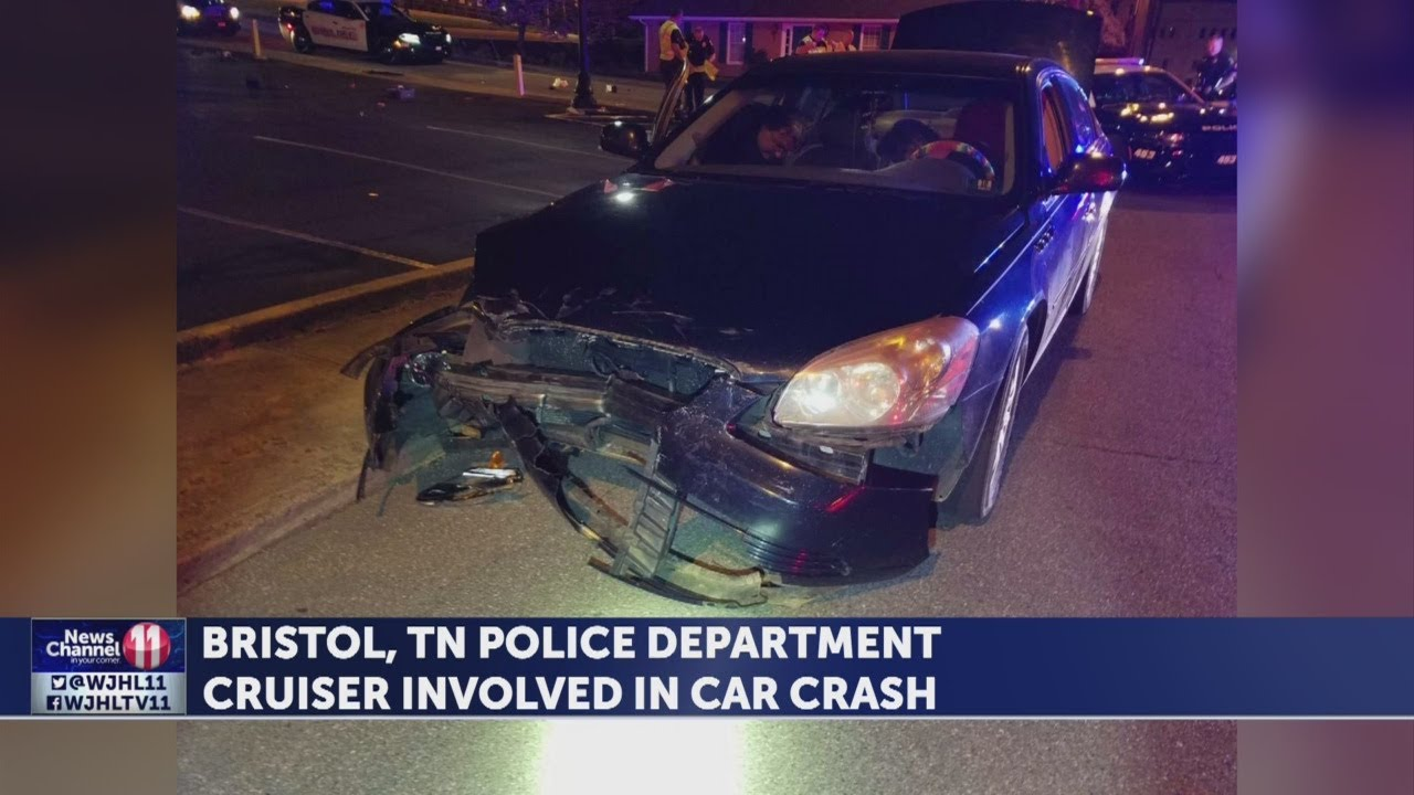 Bristol, Tennessee Police Department cruiser involved in car crash