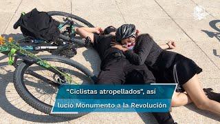 Cerca de 400 ciclistas, se congregaron en el Monumento a la Revolución, para una foto monumental con el fin de exigir  sus derechos de libre esparcimiento debido a la violencia vial