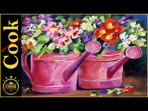 Kick the Cans with Pink Acrylic Painting  A Flower Tutorial for Beginners