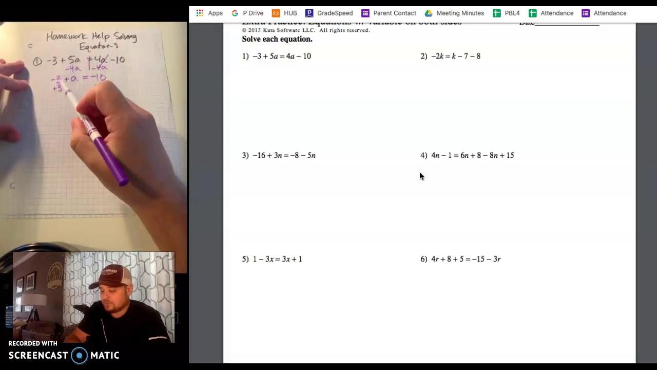 Solving equations homework help