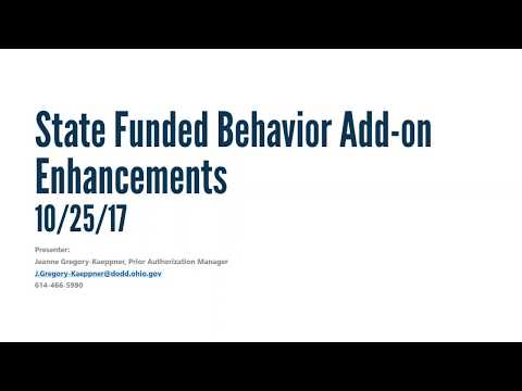 State Funded Behavior Add-on Enhancements Recorded Webinar