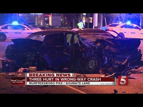 3 Hurt In Wrong-Way Crash In Nashville