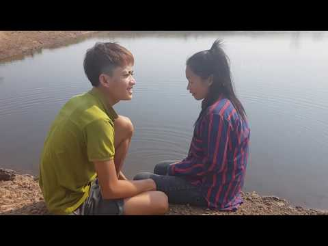 Short film a cow boy and a cow girl at the field and go to the pond