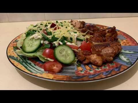2 Aussies Marinated Chicken Thigh And Salad.