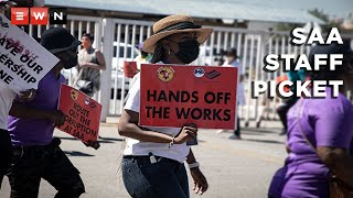 Members of the South African Cabin Crew Association (Sacca) and Numsa picketed outside the SAA headquarters in Kempton Park on 12 October 2021.