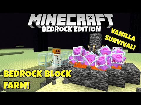 Minecraft Bedrock: Bedrock Block Farm, In Survival! How To Break Bedrock! MCPE Xbox PC