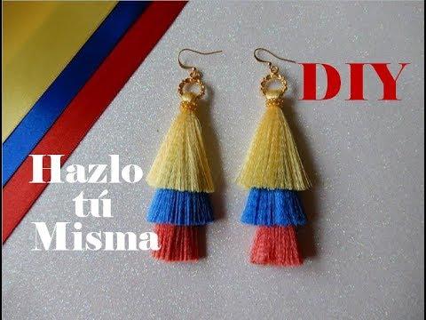 DIY ARETES TRI COLOR DE FLECOS   Paso a Paso