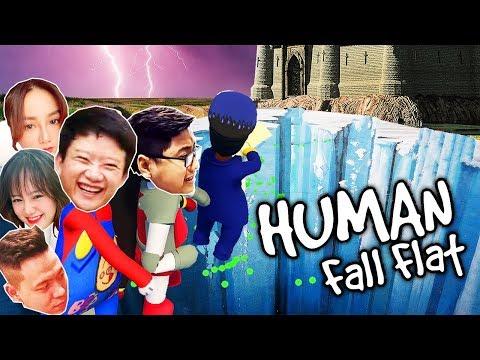 MÌNH TÔI GÁNH 7 CON GIỜI QUA VỰC SÂU, HUNTER VỪA KHÓC VỪA CHỊU THUA =))) - Human Fall Flat