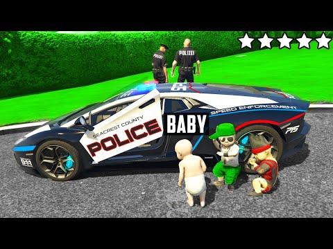 BABY klaut POLIZEI AUTO in GTA 5 RP!