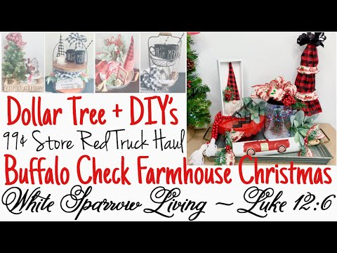 5 DIY DOLLAR TREE + BUFFALO CHECK LITTLE RED TRUCK FARMHOUSE CHRISTMAS TRAYS + 99¢ STORE HAUL