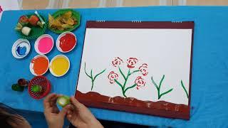 Vẽ tranh vườn hoa từ rau củ quả