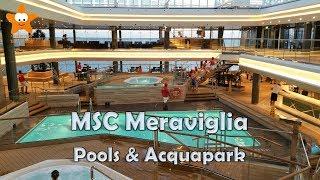 Tour dei ponti esterni della MSC Meraviglia e del bellissimo Acquap...
