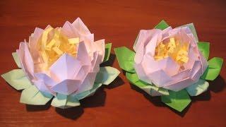 Поделки Подарки своими руками.Как сделать цветы  лилию, лотос из бумаги.Оригами Идеи рукоделия.(Идеи рукоделия! Друзья, футаж в начале видео сделала профессиональный футажист Надежда Шорохова, это..., 2015-04-26T12:37:58.000Z)