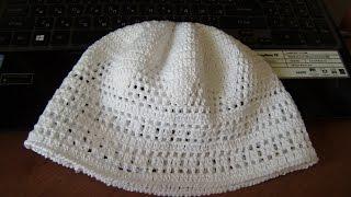 мужская вязаная  крючком  шапка