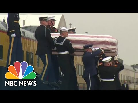 George H.W. Bushs Casket Arrives In Texas For Burial | NBC News