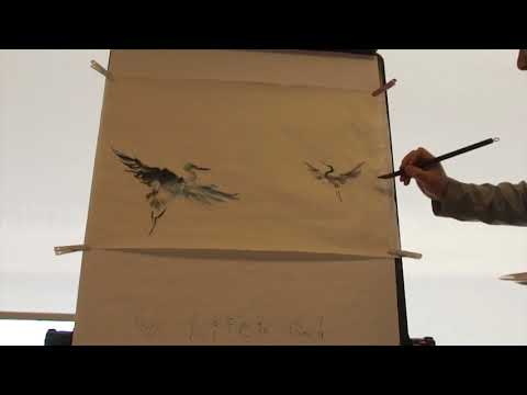 Henry Li Improvise a Blue Heron Painting the the Blue Heron Chapter Sumi-e Society of America(2016)