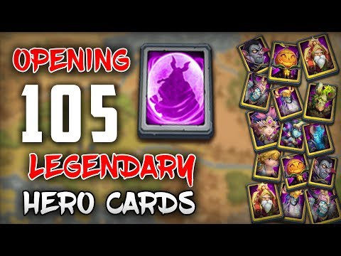 Castle Clash : Opening 105 Legendary Hero Cards (Vlad,SK,warlock,Pd And Much More)