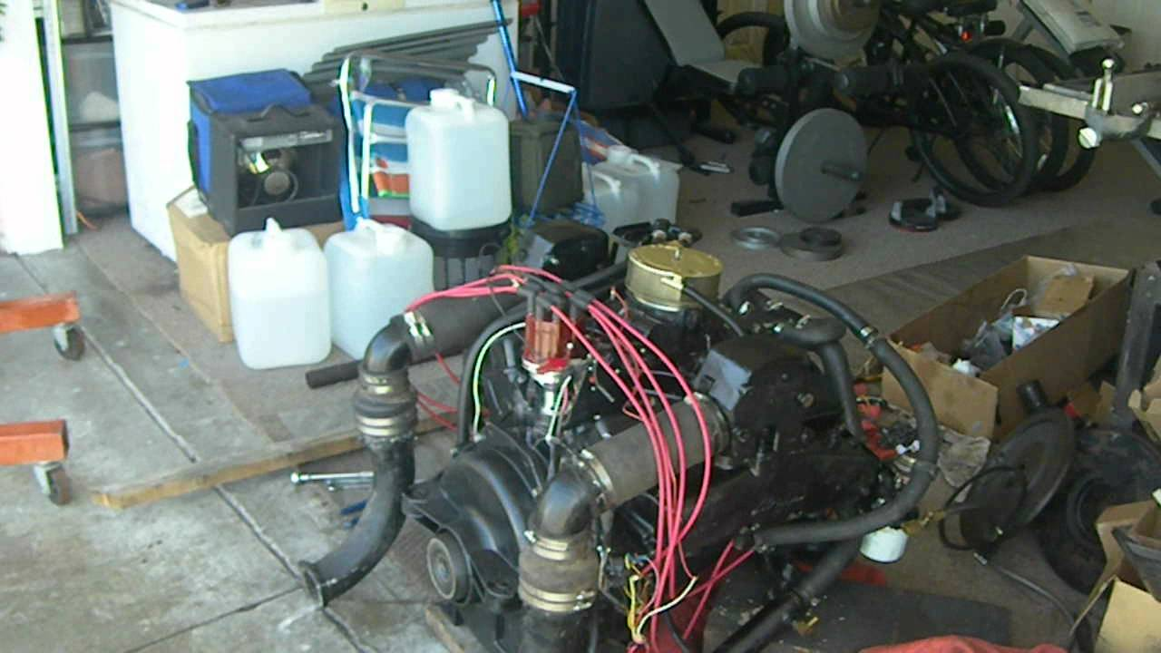 mercruiser (260) 5 7 350 chevy setting the timing and firing up the motor  in the driveway - youtube