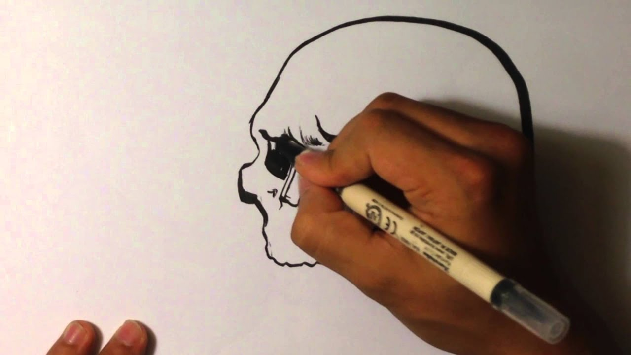 How To Draw A Skull With Calligraphy Pen Youtube