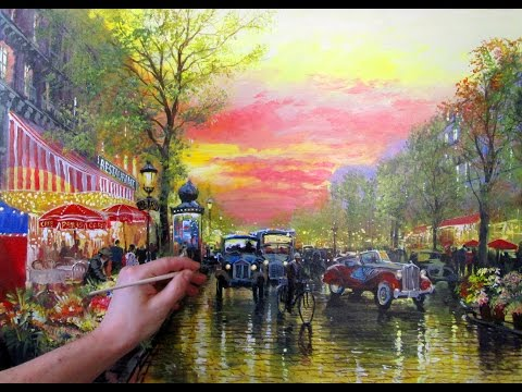 Full Video Painting Tutorial Cozy Evening Street. FREE!