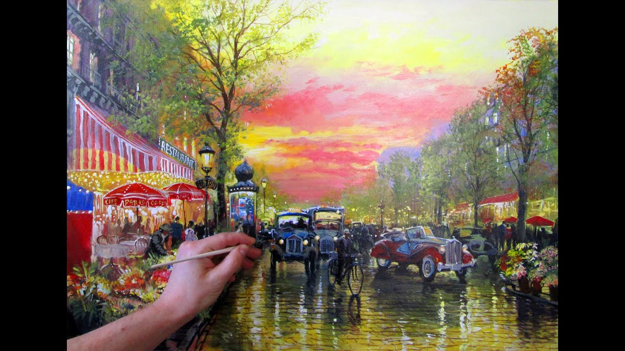 Full video painting tutorial cozy evening street free for The art of painting