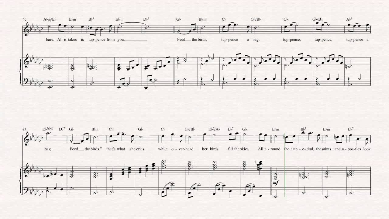 Flute feed the birds mary poppins sheet music chords flute feed the birds mary poppins sheet music chords vocals hexwebz Image collections