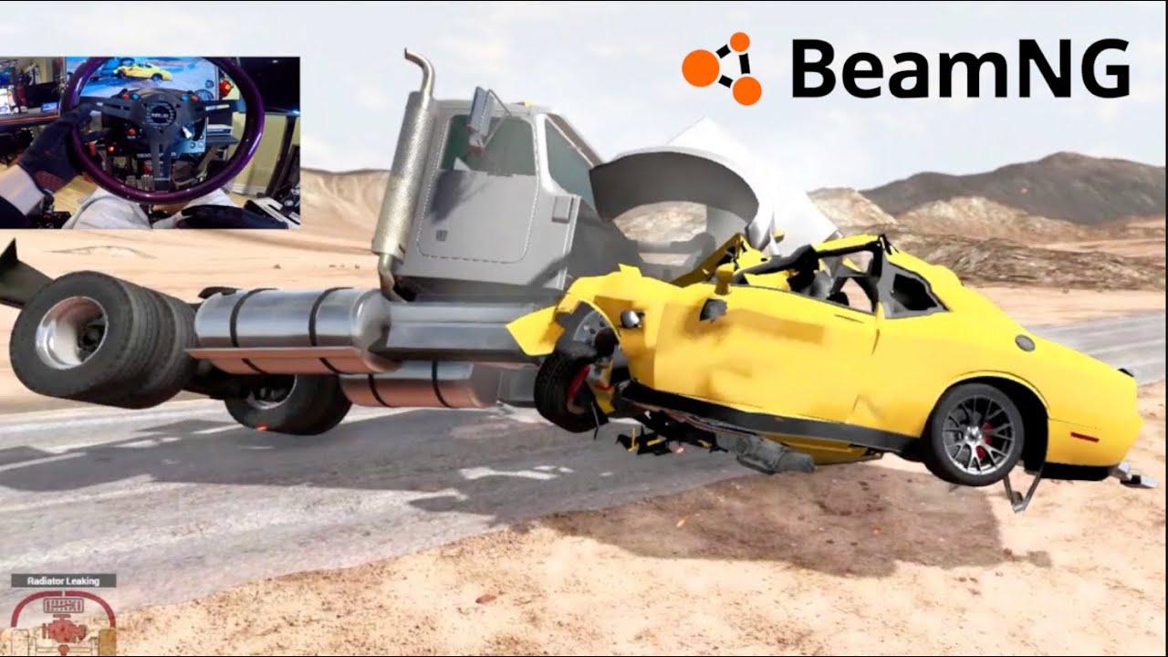 BeamNG PC NEW Challenger Hellcat MOD vs TRUCK @210Mph + Street Racing Scenarios